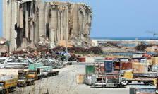 Vedere generala asupra locului exploziei în portul Beirut, la un an dupa explozie, 24 iulie 2021.