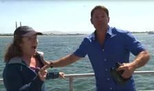 Experta Doris Welch şi prezentatorul tv, Steve Backshall, întrerupţi de o balenă albastră