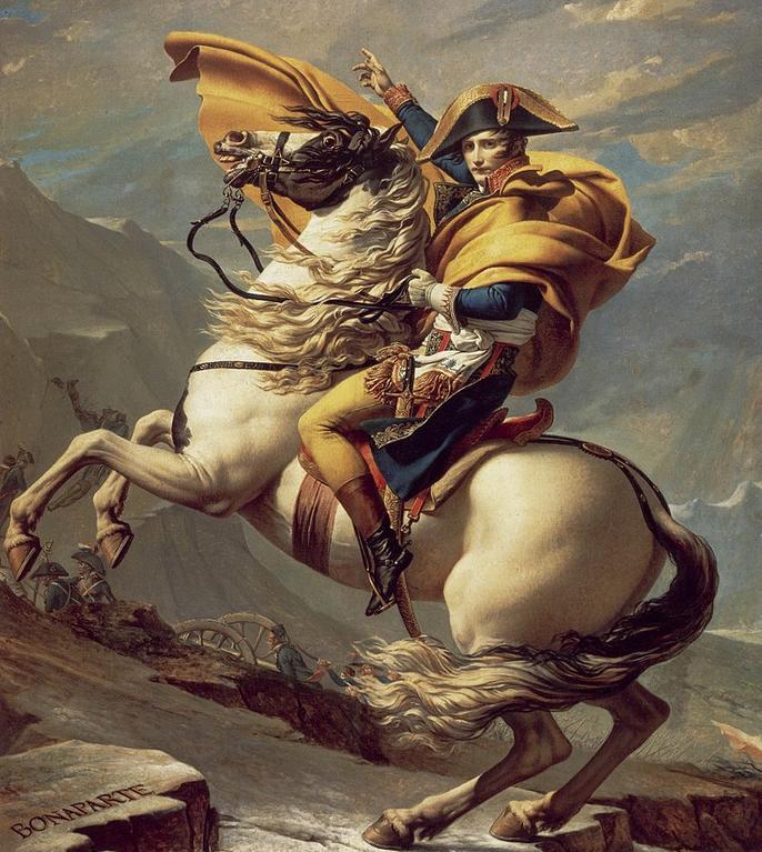 Bonaparte pe calul Marengo traversînd Munţii Alpi, pictură de Jacques-Louis David, 1801.