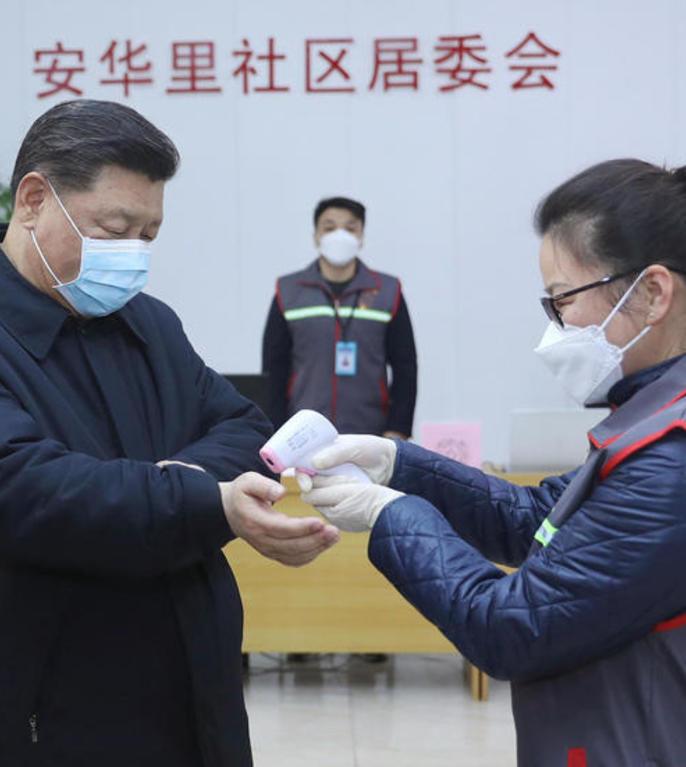 Președintele chinez, Xi Jinping, în vizită la o clinică din Beijing (Foto: AFP/XINHUA/Ju Peng)