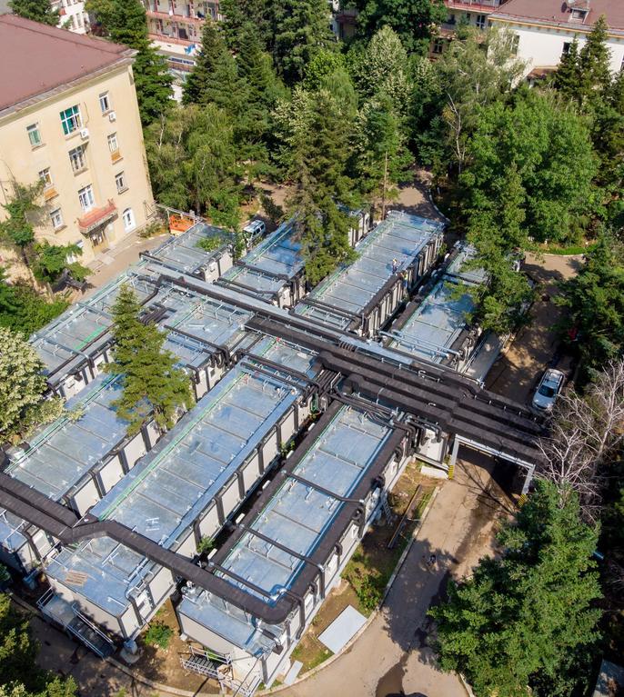 Spitalul modular Covid-19 din curtea spitalului Elias (Sursa foto: Facebook/Asociația Dăruiește Viață)