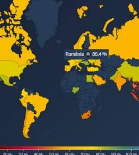 Harta normalităţii după valul al 3-lea, potrivit căreia românii şi-au reluat în proporţie de 85,4% viaţa pe care o aveau înainte de pandemiei.