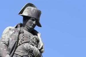 Detaliu al statuii lui Napoleon de la Ajaccio, orasul natal al Împàratuliui din Corsica.