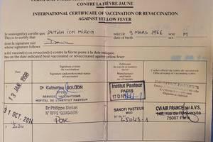 Certificat international de vaccinare contra febrei galbene, eliberat de OMS, singurul obligatoriu pentru a voiaja în anumite tàri.