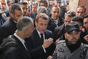 Ierusalim, 22 ianuarie 2020, preşedintele Emmanuel Macron în oraşul vechi