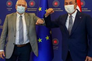 Josep Borrel, şeful diplomaţiei europene, şi ministrul turc de externe, Mevlüt Cavusoglu, Ankara, 6 iulie 2020.