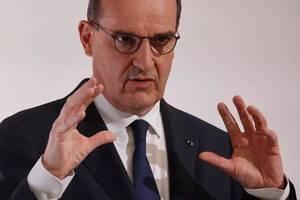 Premierul Frantei Jean Castex la o conferintà de presà, 8 aprilie 2021.
