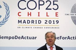 Antonio Guterres, secretarul general ONU, la Madrid, în ajunul deschiderii COP25, 1 decembrie 2019