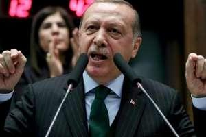 Preşedintele Recep Tayyip Erdogan pe data de 5 decembrie 2017 la Ankara criticînd decizia lui Donald Trump