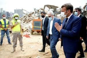 Președintele Emmanuel Macron în vizită la Beirut, pe 6 august 2020, la două zile după explozia care s-a soldat cu peste 220 de morţi.