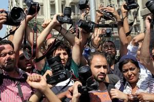 Egipt: Protest al jurnalistilor împotriva Ministrului de Interne dupa ce trei jurnalisti au fost arestati. Fotografie realizata în aprilie 2016.