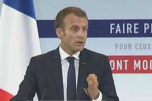 Emmanuel Macron expunînd planul de combatere a saraciei, 13 septembrie 2018