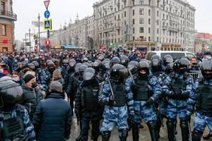 Moscova, 23 ianuarie 2021, Piața Pușkin.