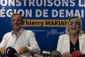 Thierry Mariani, candidat al Reuniunii nationale (ex-Front national), aici alàturi de Marine Le Pen, ar putea cuceri regiunea de sud a Frantei, PACA, la alegerile regionale din 20 si 27 iunie 2021.