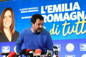 Matteo Salvini, liderul Ligii, la un discurs sustinut dupà înfrângerea în Emilia-Romagna, 27 ianuarie 2020