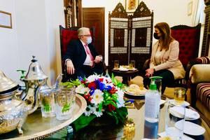 Marlène Schiappa, ministra delegată la Cetăţenie, cu rectorul Marii moschei din Paris, Hafiz Chems-eddine.