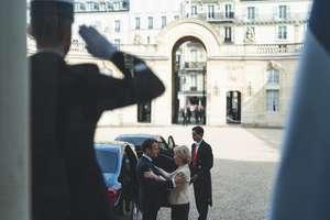 Ursula von der Leyen, viitoarea presedintà a Comisiei europene, primità la palatul Elysée de presedintele francez Emmanuel Macron, 14 octombrie 2019