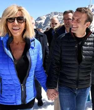 Brigitte si Emmanuel Macron în Pirinei, aprilie 2017