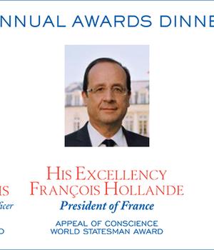 """François Hollande, presedintele Frantei, desemnat """"seful de stat al anului"""" de fundatia Appeal of Conscience"""