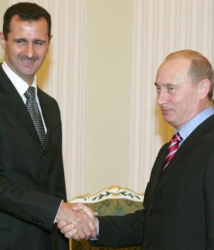 Presedintii sirian Bashar al-Assad si rus Vladimir Putin
