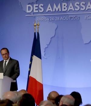 François Hollande, presedintele Frantei, la Conferinta ambasadorilor francezi, Palatul Elysée 25 august 2015