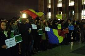 Manifestanti români reuniti pe Esplanada de la Trocadéro din Paris