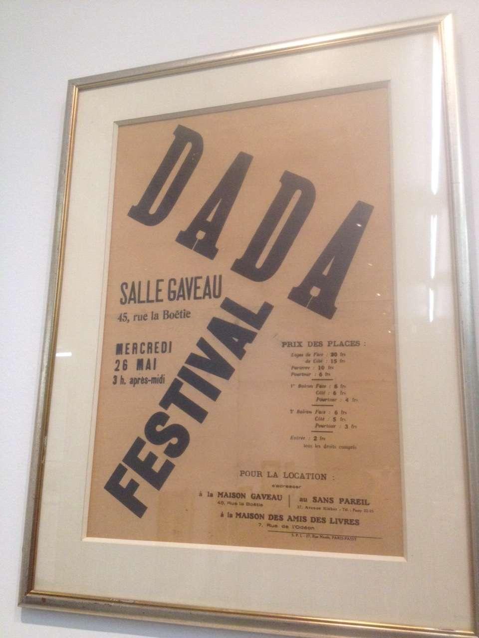 Anunt pentru un Festival Dada organizat în sala Gaveau din Paris