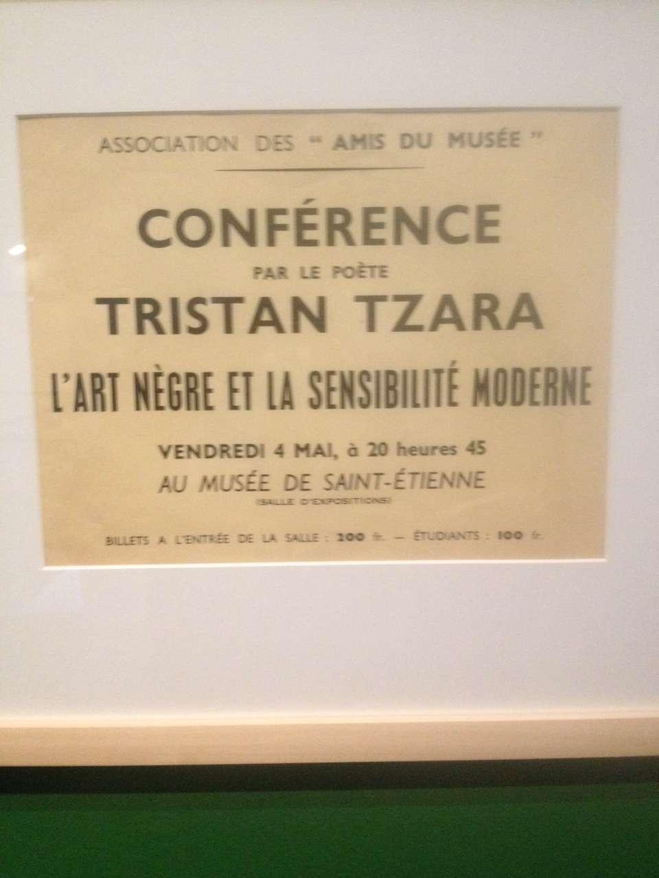 Anunt pentru o conferintà sustinutà de Tristan Tzara pe tema artei africane