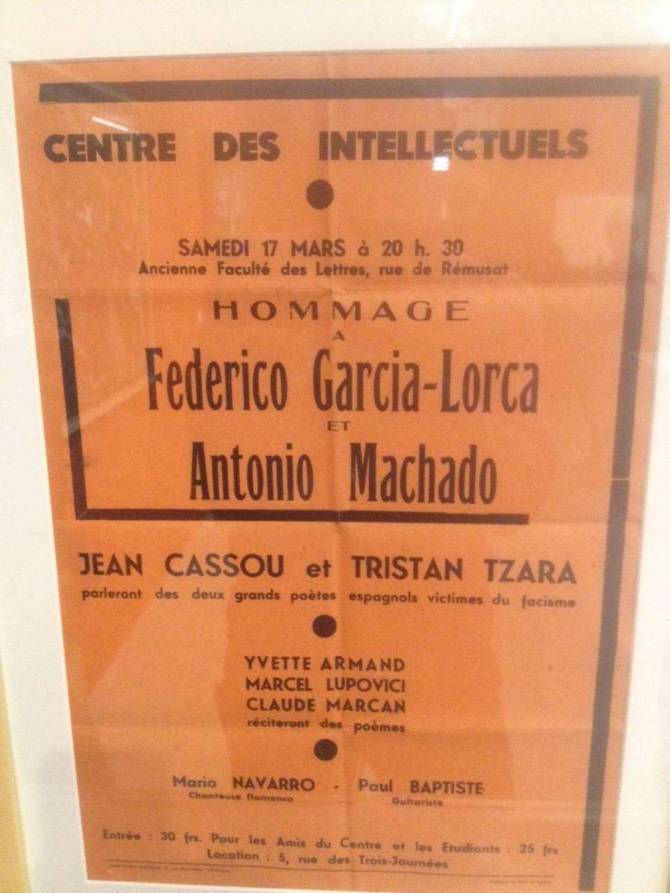 Conferintà-omagiu sustinutà de Tristan Tzara în memoria amicului sàu Federico Garcia Lorca ucis pe frontul ràzboiului civil spaniol