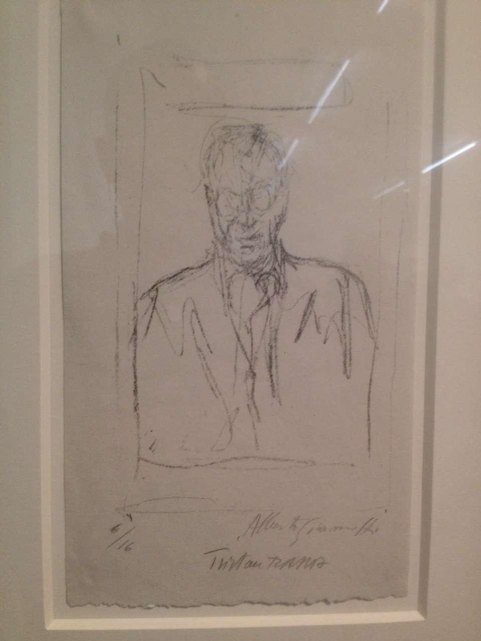 Portretul lui Tristan Tzara realizat de Alberto Giacometti