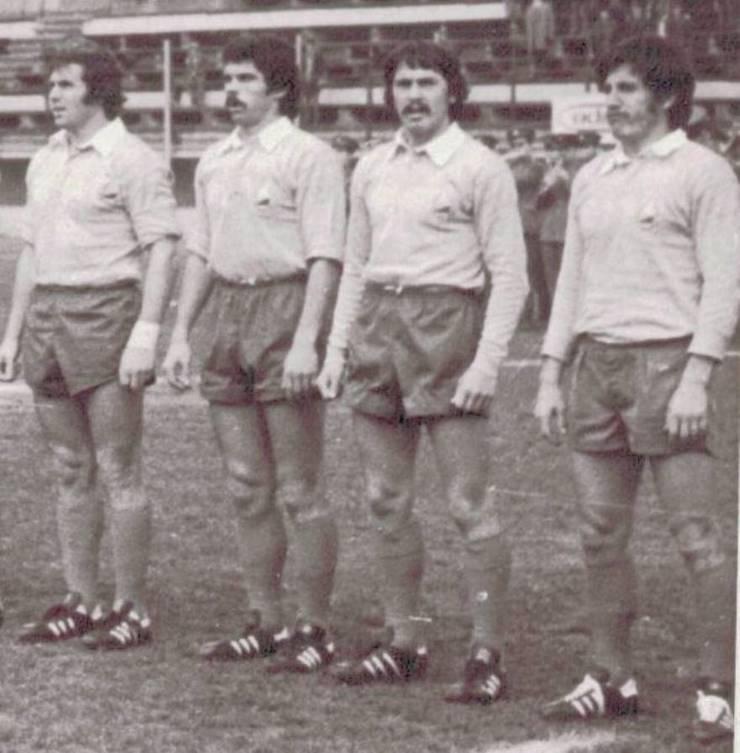 De la stânga Petre Motrescu, Gheorghe Varga, Peter Ianusevici, Mihai Bucos
