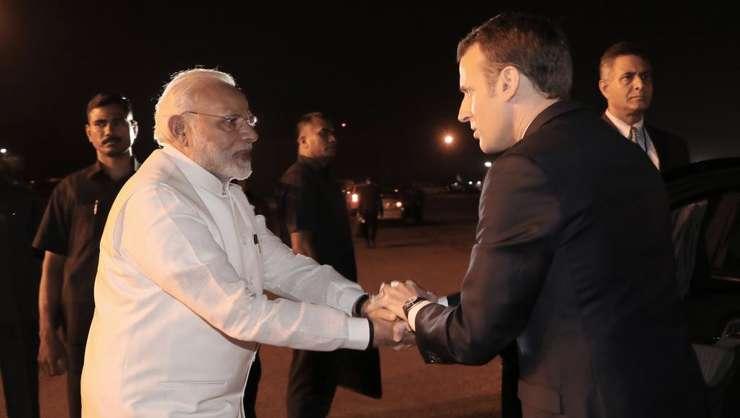Primul ministru indian Narendra Modi si presedintele francez Emmanuel Macron
