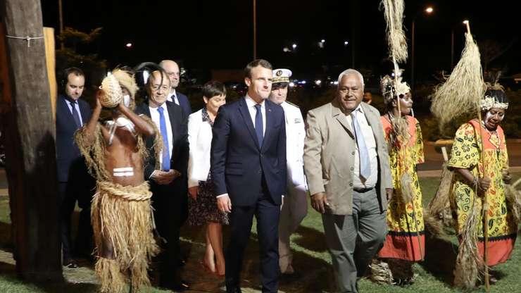 Emmanuel Macron la Nouméa, pe 3 mai 2018.