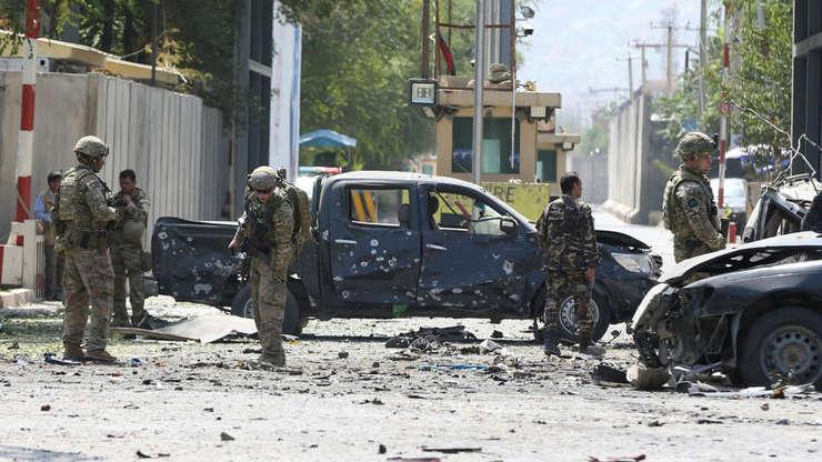 Militari NATO la Kabul pe 5 septembrie 2019 în zona comiterii noului atentat revendicat de talibani