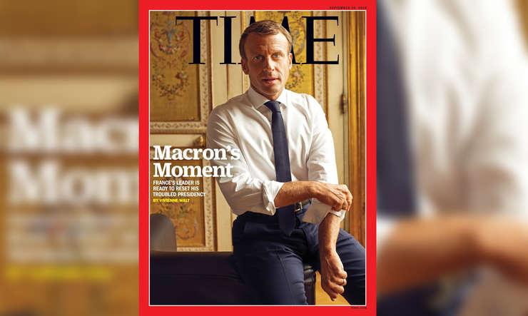 Coperta revistei Time în care este înfatisat presedintele Frantei, Emmanuel Macron, editia din 19 septembrie 2019.