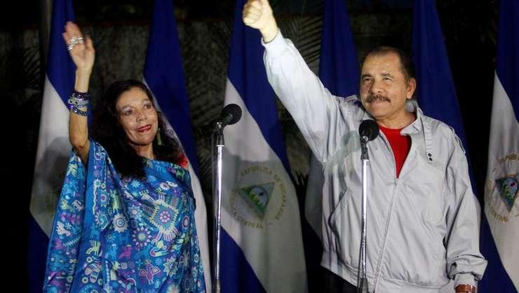 Daniel Ortega, preşedinte al statului Nicaragua, şi soţia sa, vice-preşedinte. Managua, l7 noiembrie 2016.