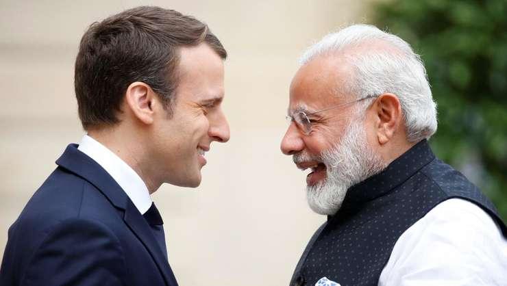 Emmanuel Macron şi Narendra Modi în cursul unei precedente întîlniri