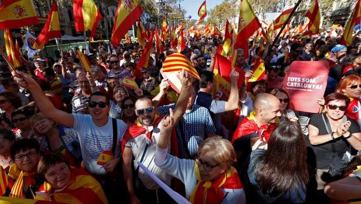 29 octombrie 2017, Barcelona, manifestatie în favoarea unitatii Spaniei
