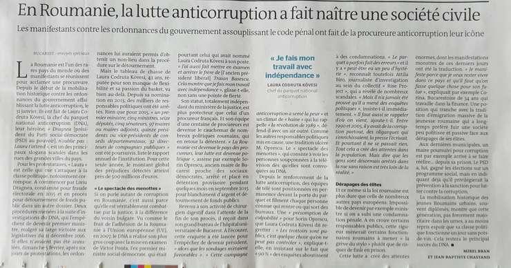 Le Monde din 9 februarie 2017, despre lupta anticoruptie din România si nasterea unei societàti civile