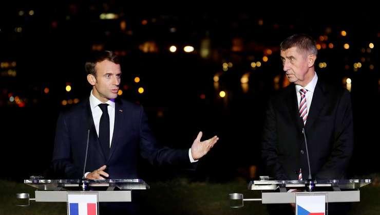 Emmanuel Macron si primul ministru ceh Andrej Babis la Praga, 26 octombrie 2018