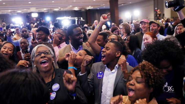 Militanţi democraţi după anunţarea rezultatelor