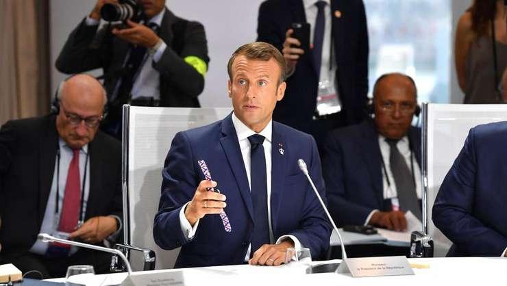 Emmanuel Macron la discuţiile de la Biarritz, 26 august 2019