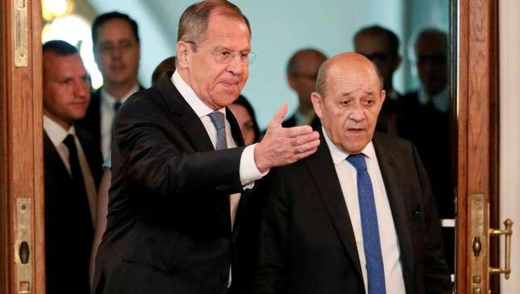 Serghei Lavrov primindu-le pe Jean-Yves Le Drian la Moscova pe 9 septembrie 2019