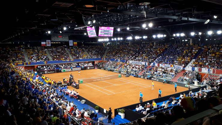 Imagine din timpul semifinalei Franta-România din cadrul Fed Cup, Rouen, Kindarena, 21 aprilie 2019