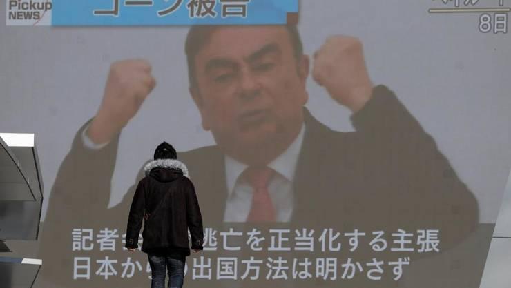 Conferinţa de presă a lui Carlos Ghosn de la Beirut de pe 8 ianuarie retransmisă la Tokyo.