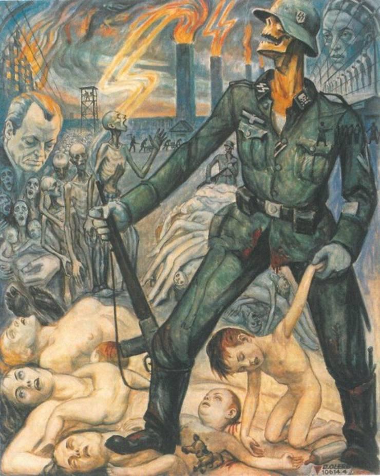 Ilustrație de la Auschwitz realizată de David Olere, ilustrator și sculptor, supraviețuitor al lagărului