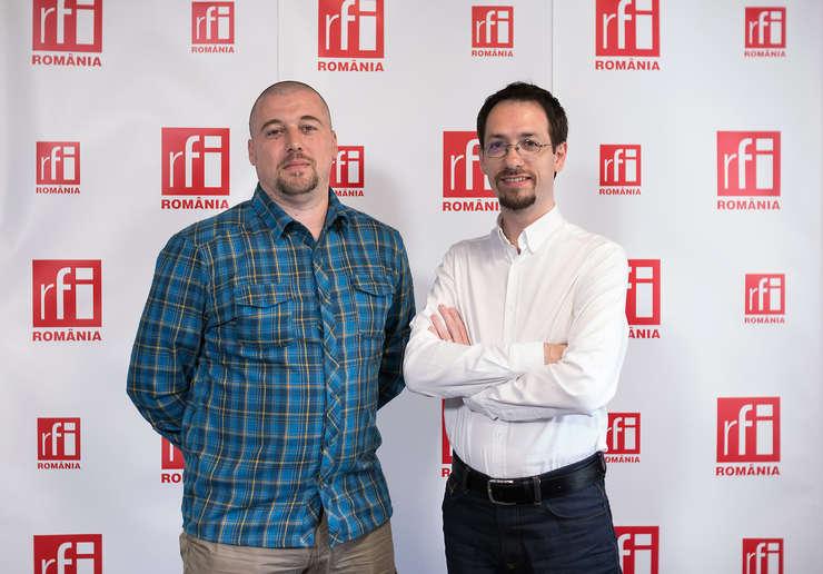 Ovidiu Bufnilă și Cosmin Ruscior in studioul radio RFI Romania