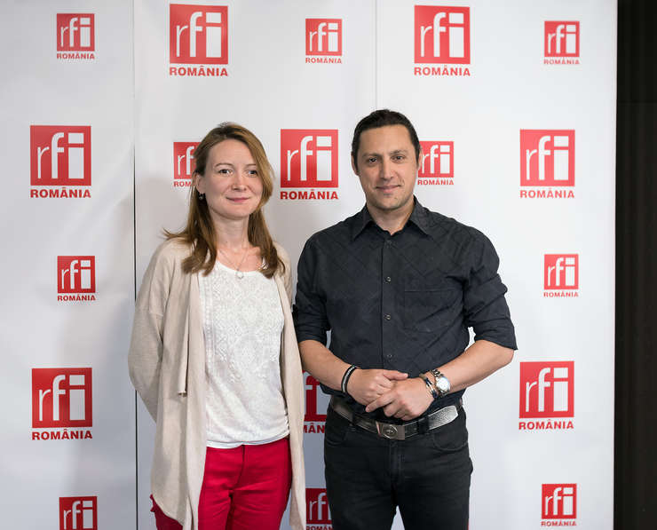 Adriana Record și Dan Pavel in studioul radio RFI Romania la Business ON AIR