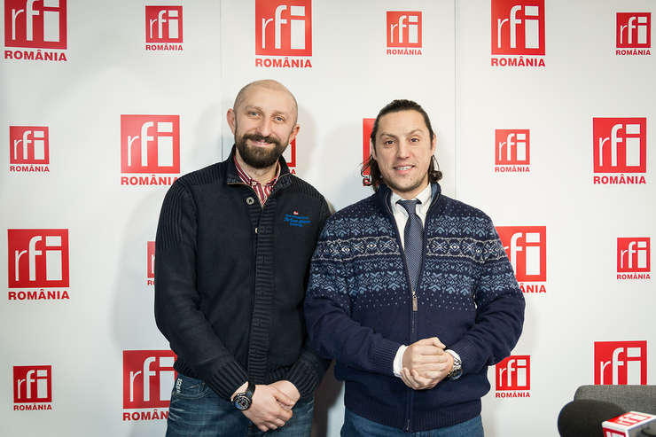 Alexandru Dumitrescu și Dan Pavel in studioul RFI Romania