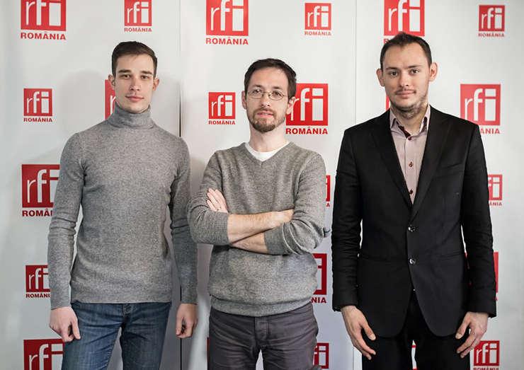 Alexandru Pânişoară, Cosmin Ruscior şi Alin Iliescu in studioul RFI Romania